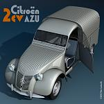 Another render of the 2cv, this time in a fifties-like add.